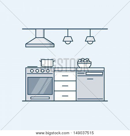 Modern kitchen interior with gas stove and dishwasher. Built-in appliances. Vector illustration in a linear style, isolated on a gray background
