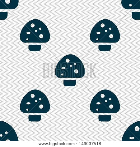 Mushroom Icon Sign. Seamless Pattern With Geometric Texture. Vector