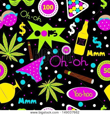 Pop art fashion seamless pattern. Vector cannabis cigar alcohol bottle underwear chips. Men's leisure holiday hobby vacation summer party in hawaii. Design for textiles t-shirts