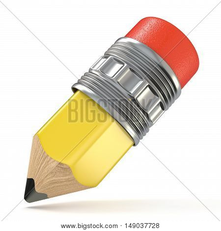 Yellow pencil. Cartoon style. 3D render illustration isolated on white background