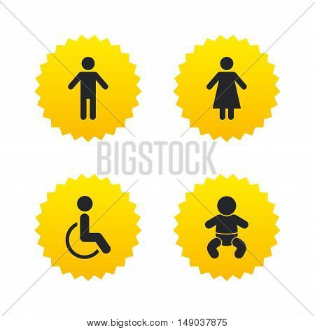 WC toilet icons. Human male or female signs. Baby infant or toddler. Disabled handicapped invalid symbol. Yellow stars labels with flat icons. Vector