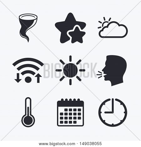 Weather icons. Cloud and sun signs. Storm symbol. Thermometer temperature sign. Wifi internet, favorite stars, calendar and clock. Talking head. Vector