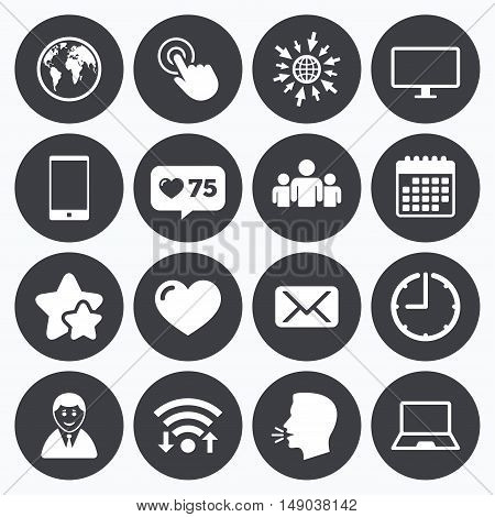 Calendar, wifi and clock symbols. Like counter, stars symbols. Web, mobile devices icons. Share, mail and like signs. Laptop, phone and monitor symbols. Talking head, go to web symbols. Vector