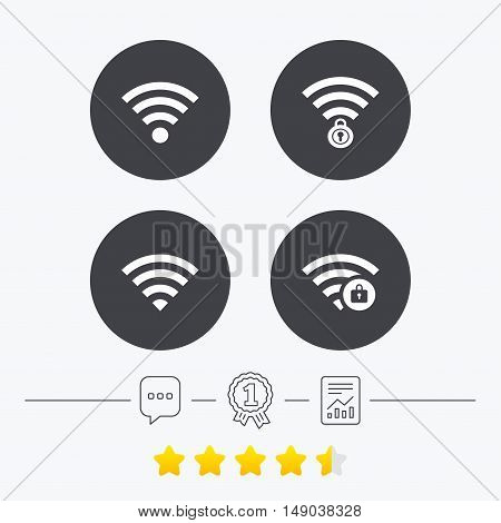 Wifi Wireless Network icons. Wi-fi zone locked symbols. Password protected Wi-fi sign. Chat, award medal and report linear icons. Star vote ranking. Vector
