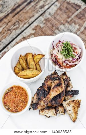 piri piri portuguese roast chicken with african jindungo spicy sauce meal