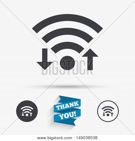 Wifi signal sign. Wi-fi upload, download symbol. Wireless Network icon. Internet zone. Flat icons. Buttons with icons. Thank you ribbon. Vector