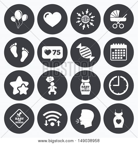 Calendar, wifi and clock symbols. Like counter, stars symbols. Pregnancy, maternity and baby care icons. Newborn, strollers and pacifier signs. Footprint, candy and love symbols. Talking head, go to web symbols. Vector