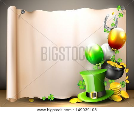 St Patrick's Day - vector background with old paper with place for text