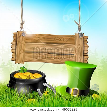 St. Patrick's Day - background with wooden sign hat and pot of gold in grass