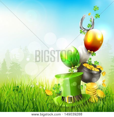 Hat and pot of coins in the grass - St. Patrick's Day background