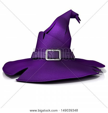 Halloween witch hat. Purple hat with purple belt. Isolated on white background
