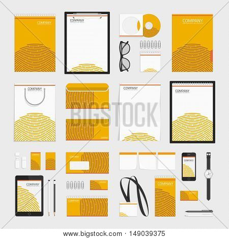 Stationery template design. Corporate identity business set in orange colors. Vector modern company style for brand book and guideline. Branding design concept.