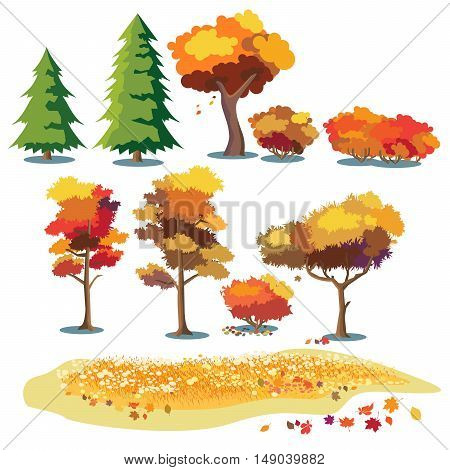 Set of stylized vector plants in autumn colors. Shrubs trees leaves and fields with grass and flowers