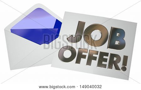 Job Offer Envelope Letter Note Opening New Career 3d Illustration
