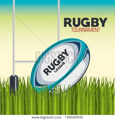 rugby ball with field and post goal design vector illustration eps 10