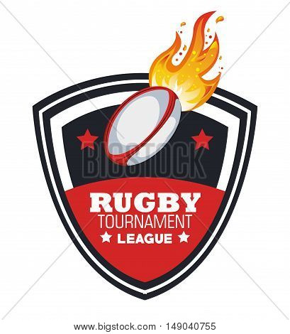 rugby ball with flames tournament emblem graphic vector illustration eps 10