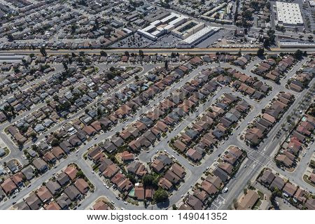 Aerial of middle class homes in San Leandro near Oakland, California.