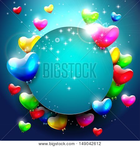 Background with colorful hearts and place for text