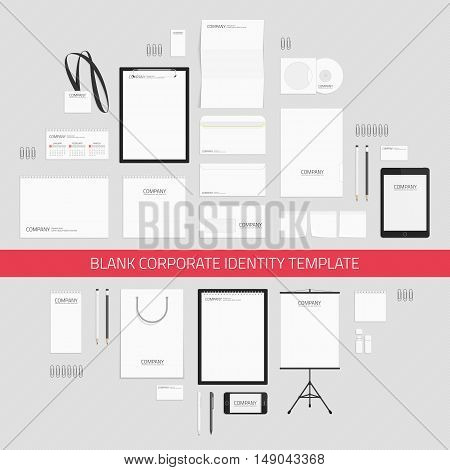 Blank corporate identity templates. Business stationery mock-up with logo. Company style presentation of your design. Branding design. Universal brand book and guideline concept.
