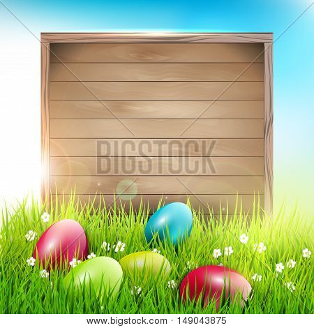 Easter background with eggs in grass and wooden sign with place for text