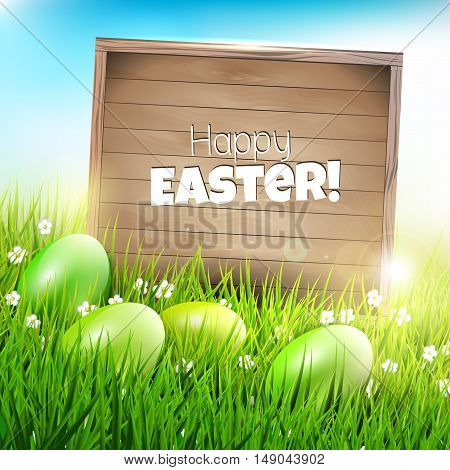 Easter background with green eggs in grass and wooden sign with place for text