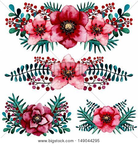 Floral Collection with Watercolor Winter Vivid Bouquets and Composition