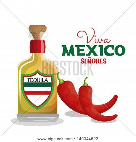 viva mexico tequila and chili graphic vector illustration eps 10