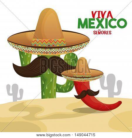 cactus chili hat viva mexico design vector illustration eps 10