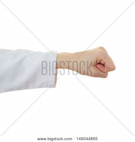 Doctor female hand gesture over white isolated background