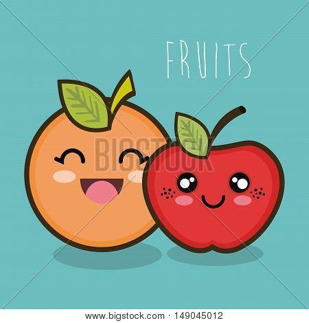 cartoon orange apple facial expression graphic vector illustration eps 10