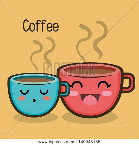 cartoon two cup coffee expression design vector illustration eps 10