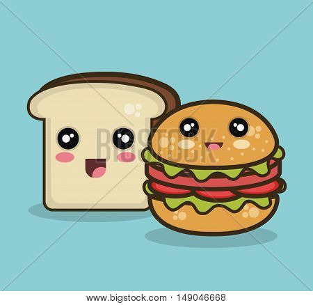 kawaii fast food and bread isolated graphic vector illustration eps 10