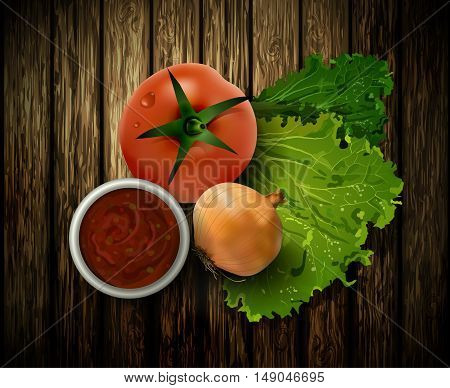 Vector illustration of fresh green salad tomato and onion on the wooden background