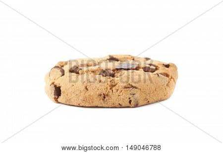 Single round cookies with the pieces of chocolate isolated over the white background