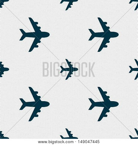Plane Icon Sign. Seamless Pattern With Geometric Texture. Vector