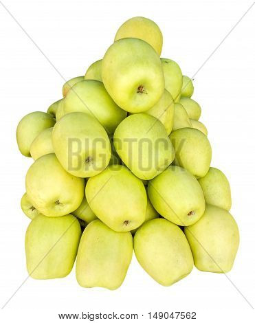 Lots of green-yellow ripe apples isolated on white. Clipping path included.