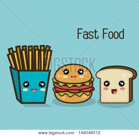 kawaii fast food burger fries and bread design graphic vector illustration eps 10