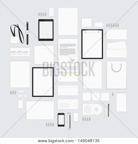 Blank white corporate identity template set. Big set of business stationery for your design layouts . Branding design. Letter envelope, card, catalog, pen, pencil, badge, notebook, letterhead and more