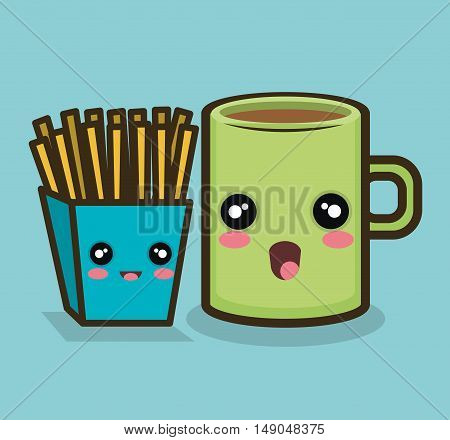 fries cup cartoon design graphic vector illustration eps 10