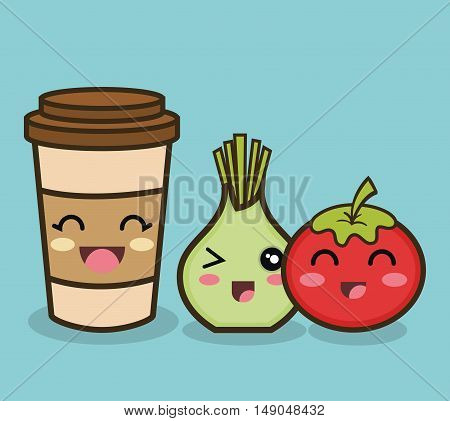 cartoon onion tomato and cup coffee design vector illustration eps 10