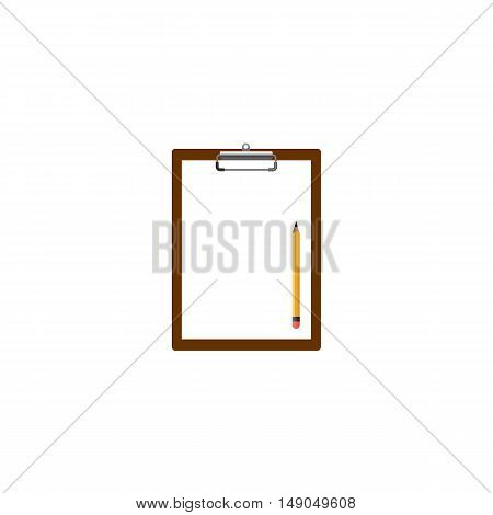 Blank clipboard with white paper and pencil isolated vector illustration