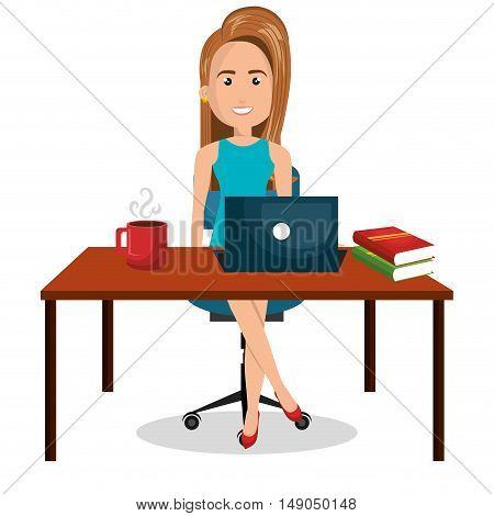 cartoon businesswoman office work desktop graphic vector illustration eps 10