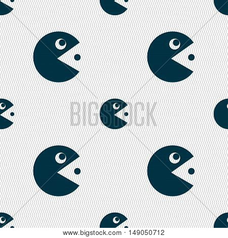 Pac Man Icon Sign. Seamless Pattern With Geometric Texture. Vector