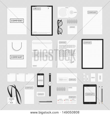 Blank corporate identity template set. Documentation for business. Vector, modern company style for brandbook and guideline. Branding design concept. Card, catalog, pencil, badge, letterhead and more.