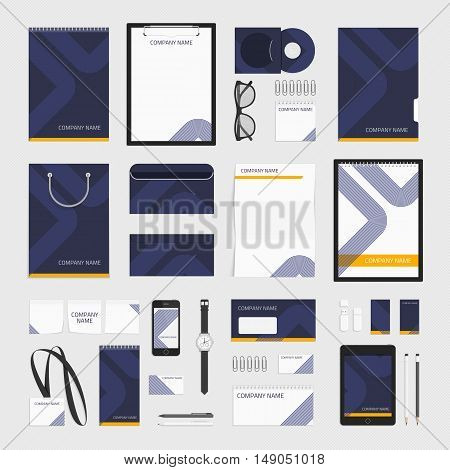 Corporate identity template big set. Documentation for business. Vector, modern company style for brandbook and guideline. Branding design concept. Card, catalog, pencil, badge, letterhead and more.