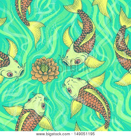 Seamless pattern with traditional Japanese Fancy Carp or Koi. Vector illustration