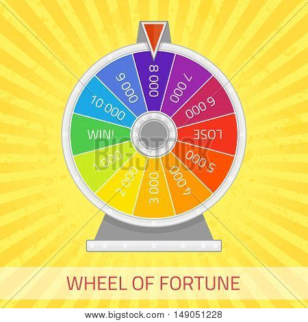 Wheel of fortune illustration. Color lucky wheel template. Winner game, money and casino concept. Infographic design element in flat style.