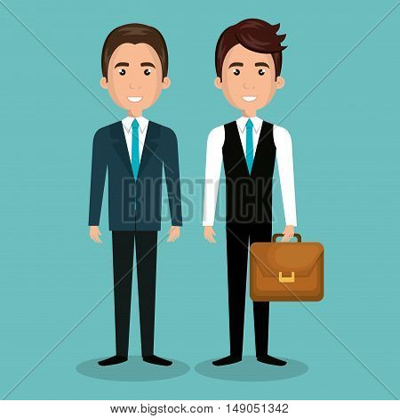 two businessman with portfolio and suit graphic isolated vector illustration eps 10