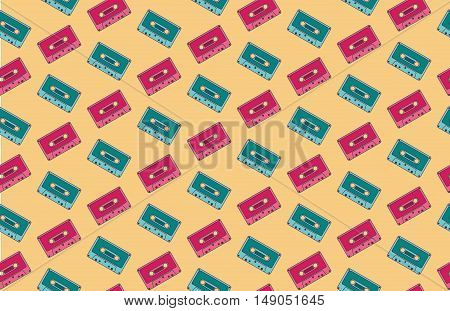 Seamless pink and blue audio-cassette pattern, background, texture