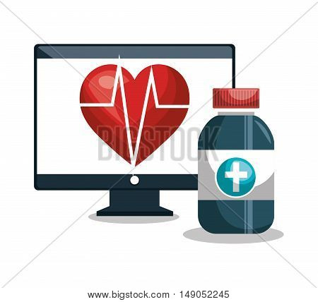 digital healthcare cardiology and medicine vector illustration eps 10